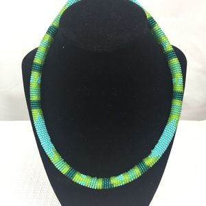"""MULTI COLOR PASTEL GREENS BLUE BEADED NECKLACE 20"""""""